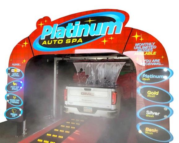 entrance to platinum auto spa car wash tunnel