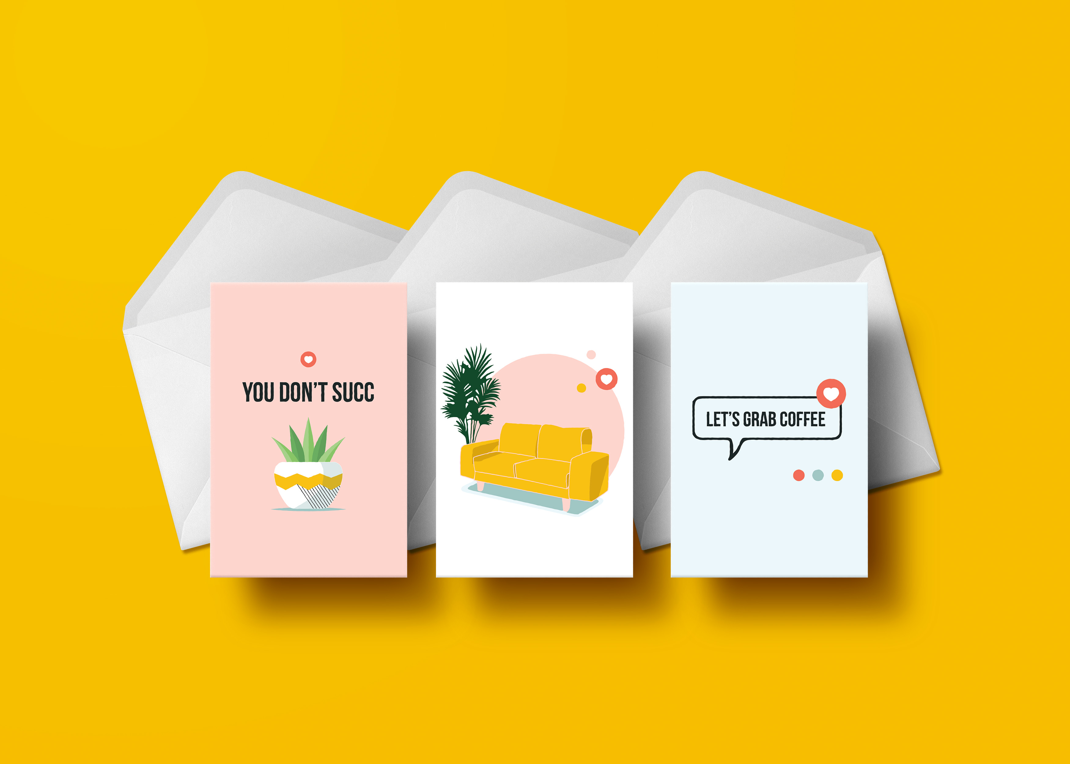 Encourage your biz bestie by sending them one of these playful greeting cards just because. This pack helps you stay connected by prompting you to schedule your next coffee date, and our signature Yellow Couch is perfect for good luck! All cards are blank inside so you can write your own sentiment and words of encouragement. 3 card assortment per pack.