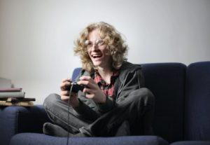 Child playing video games
