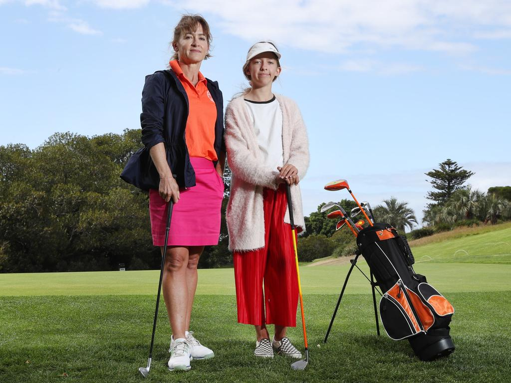 Golfers Louise Kendall and her daughter Harriet Kendall, 12, choose to play at Moore Park Golf Course because it is more accommodating. Picture: Richard Dobson