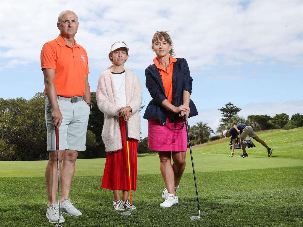 Golfers Peter Kosmina, Harriett Kendall and her mum Louise Kendall at Moore Park Golf Course. Picture: Richard Dobson