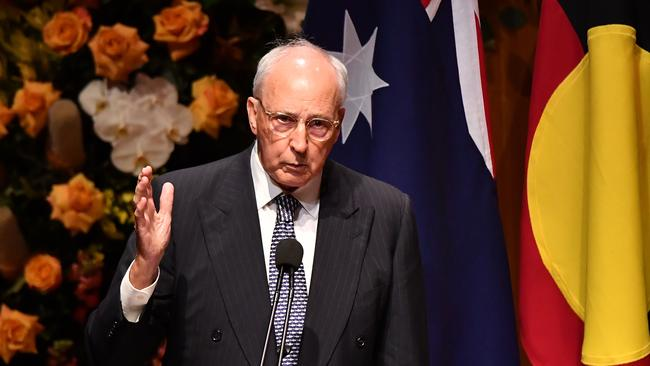 Former Prime Minister Paul Keating speaking during the State Memorial service for former Prime Minister Bob Hawke in June, 2019.