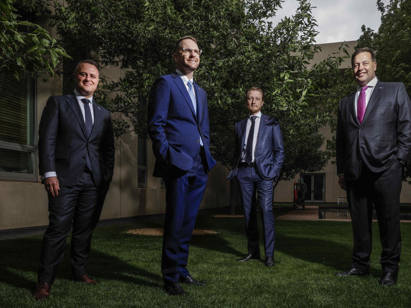 Young Liberal powerbrokers, from left, Tim Wilson, Andrew Bragg, James Paterson and Jason Falinski at Parliament House in Canberra. Picture: Sean Davey