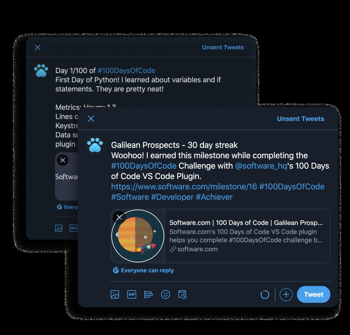 100 Days of Code sharing to Twitter