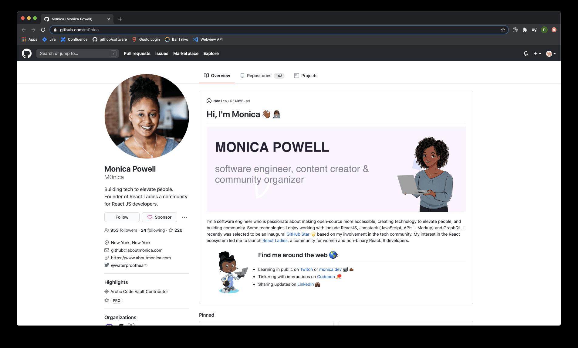 Sample GitHub profile