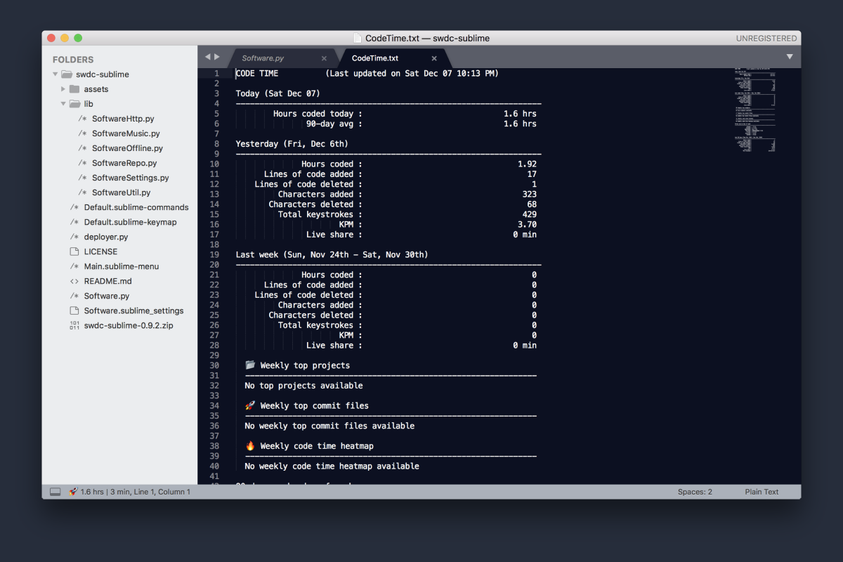Code Time by Software for Sublime Text