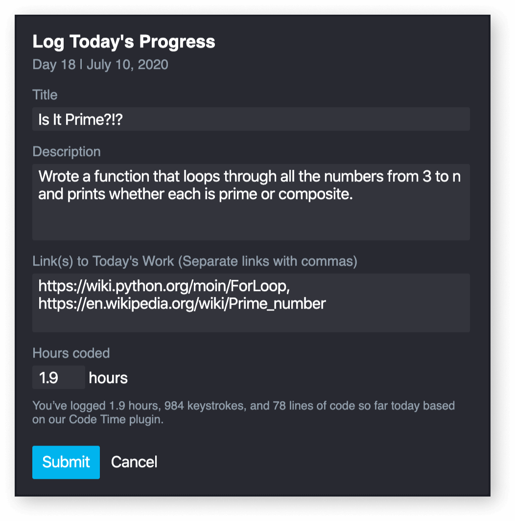 100 Days of Code log progress