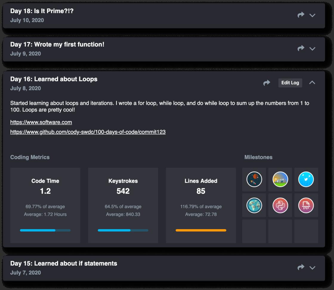 100 Days of Code logs