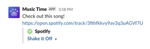 Music Time message in Slack