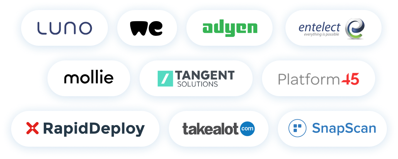 Collection of company logos that hire with OfferZen