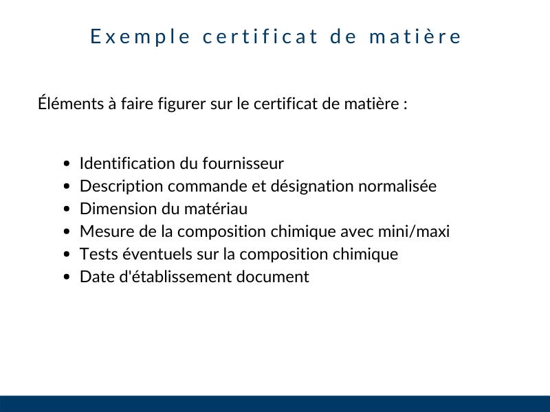 Exemple certificat matière