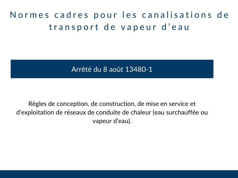 normes canalisation transport vapeur eau