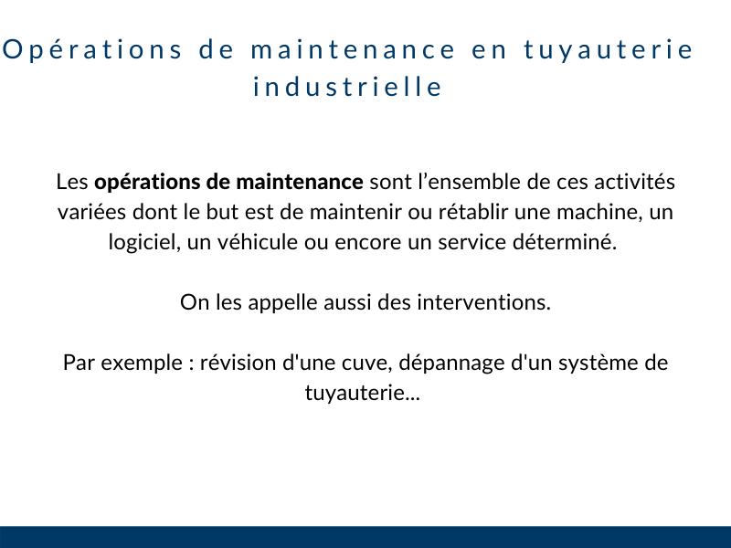 Opérations de maintenance