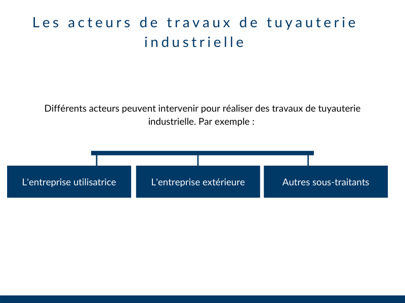 Acteurs travaux tuyauterie industrielle