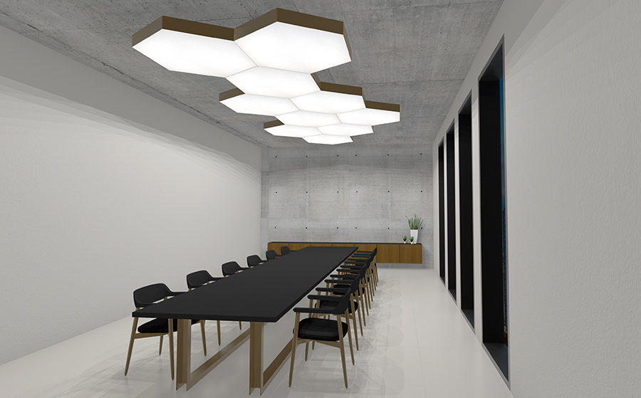 LED Lichtdeckensegel Silentlight Hexa