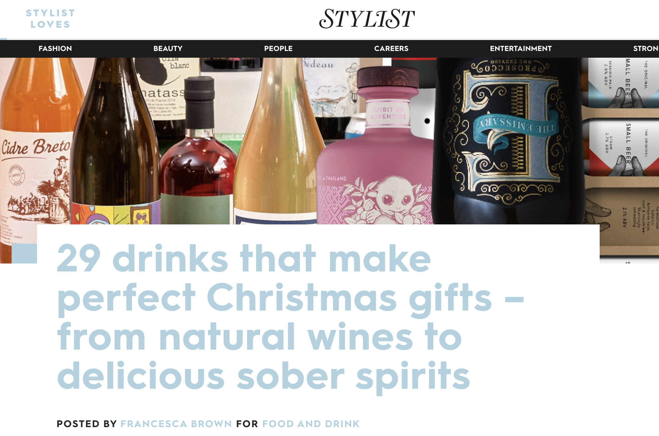 Stylist magazine has put out '29 drinks that make perfect Christmas gifts – from natural wines to delicious sober spirits' including Noughty alcohol-free sparkling Chardonnay.