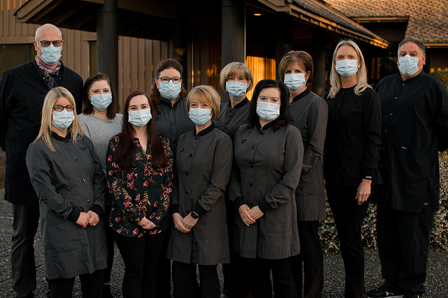 All the Hixson Dental staff standing in front of the practice