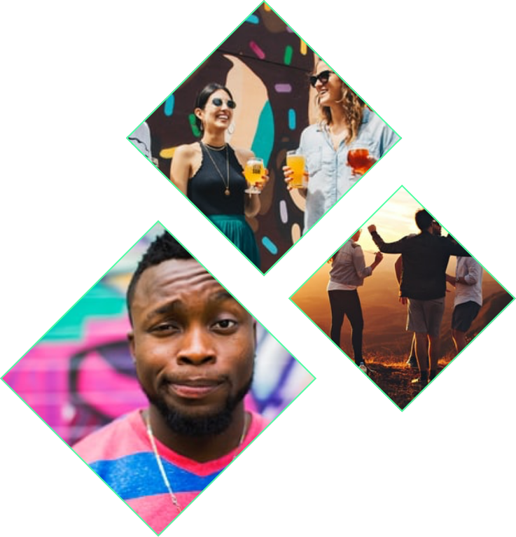 various images of people smiling and dancing