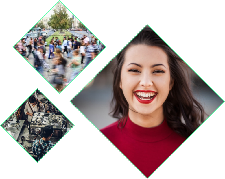various images of girl laughing, crowd of people and barista