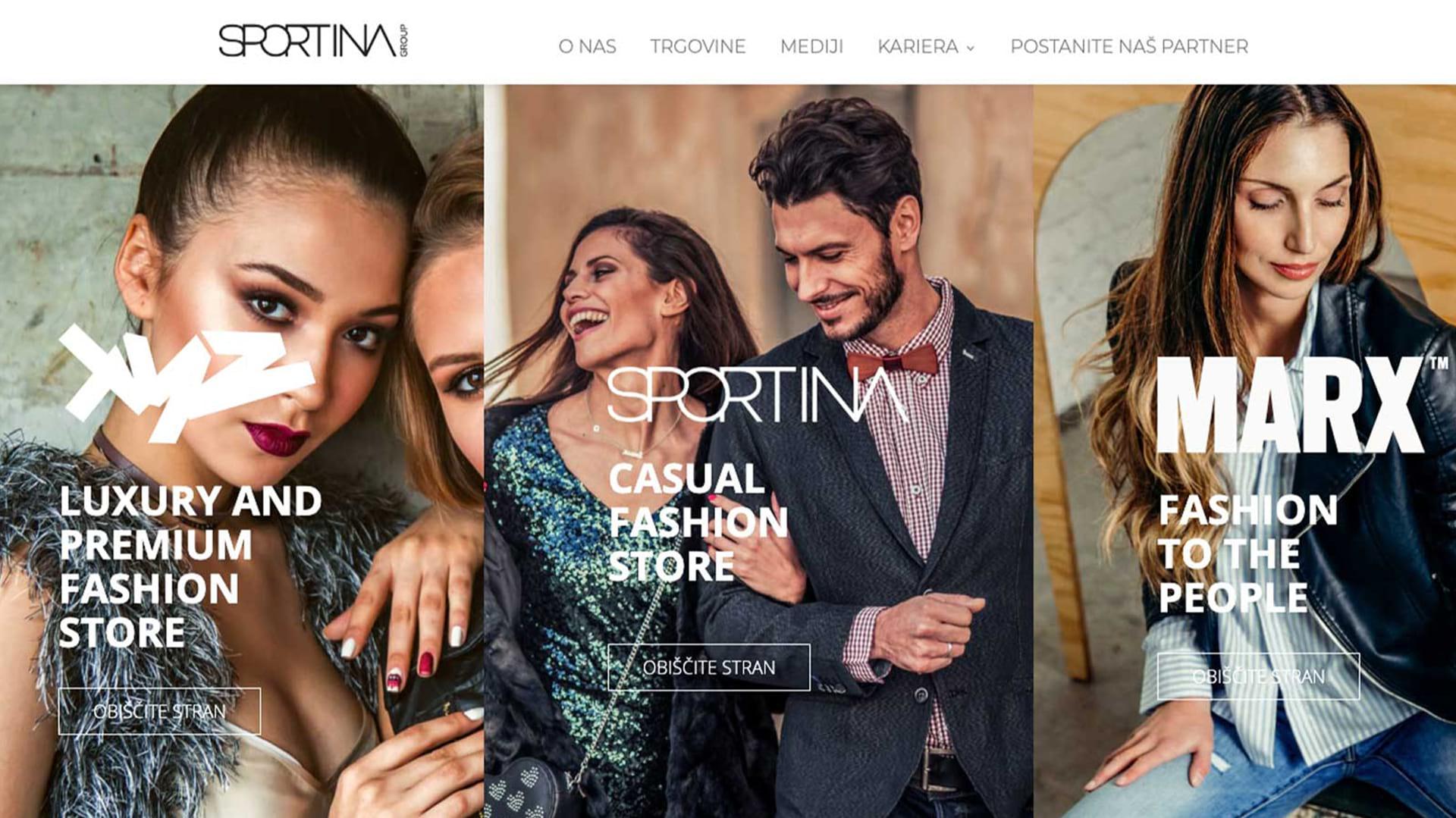 Sportina Group: Korporativno spletno mesto
