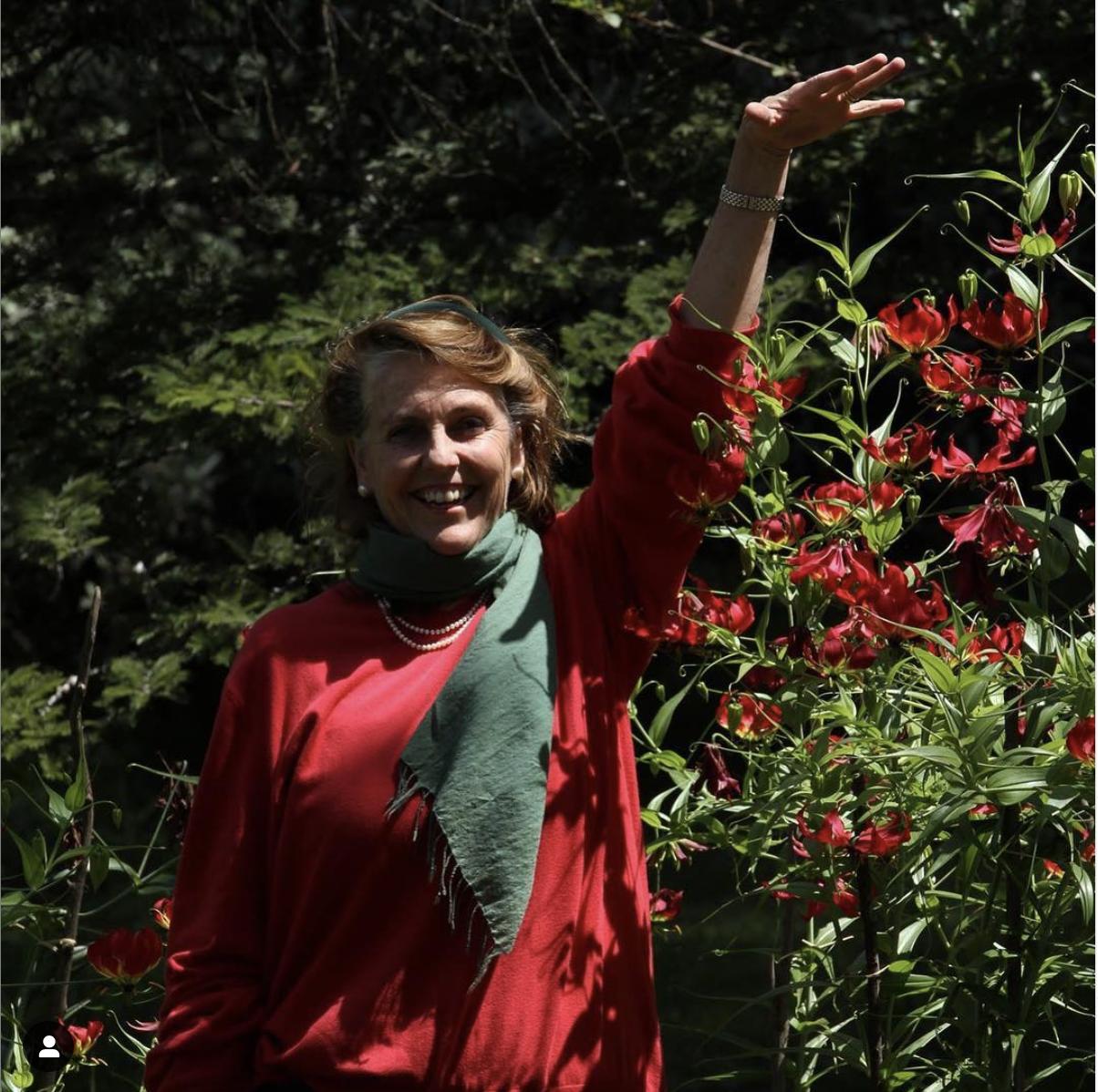 Hattie's Mum, enjoying martagon lilies.
