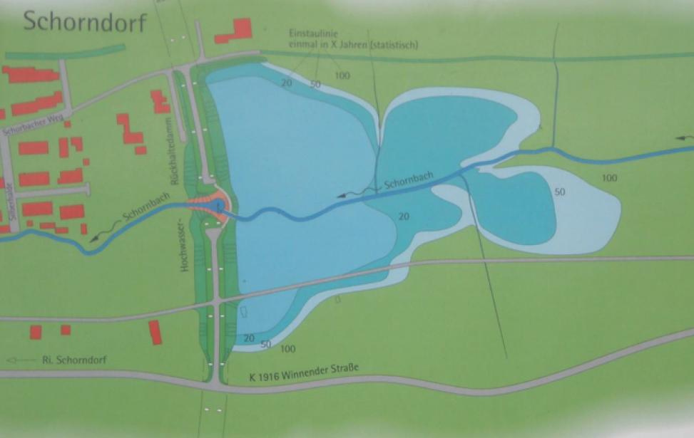 Hochwasserrückhaltebecken am Schornbach