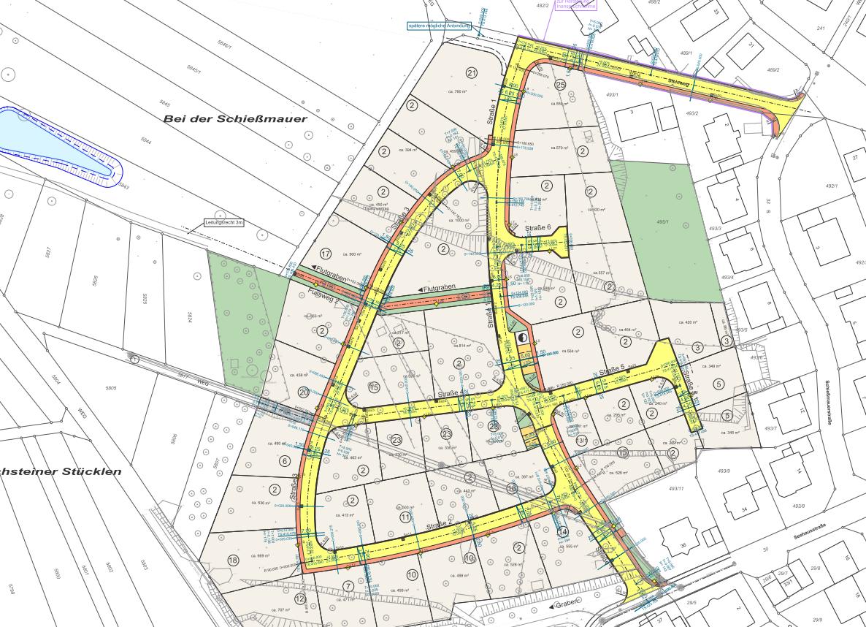 Erschließung des Wohngebietes Quellenäcker II in Wurmberg