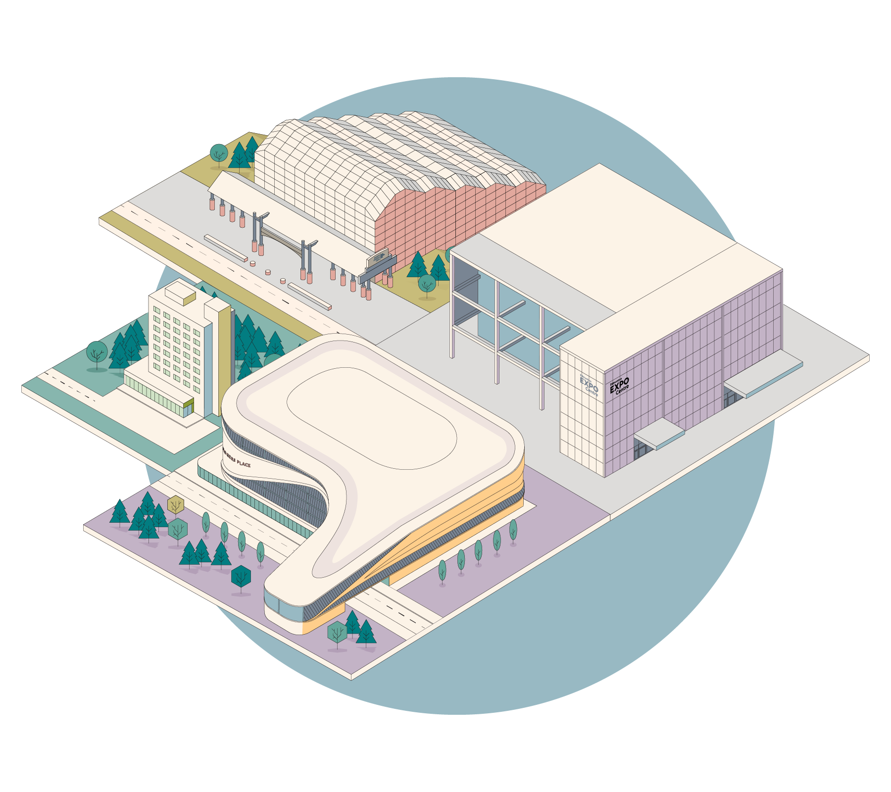Edmonton venues isometric illustration with rogers place, expo centre and Edmonton convention centre