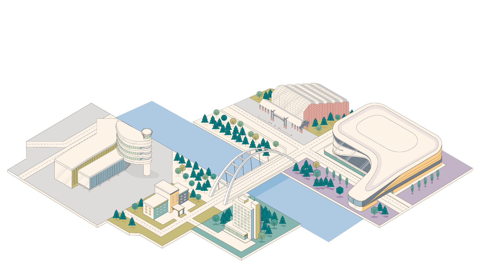 isometric illustration of Edmonton with airport, rogers place and conference centre