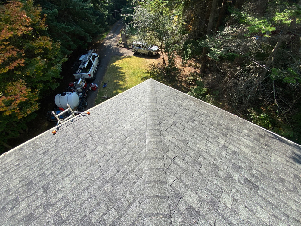 Clean roof after a soft wash.
