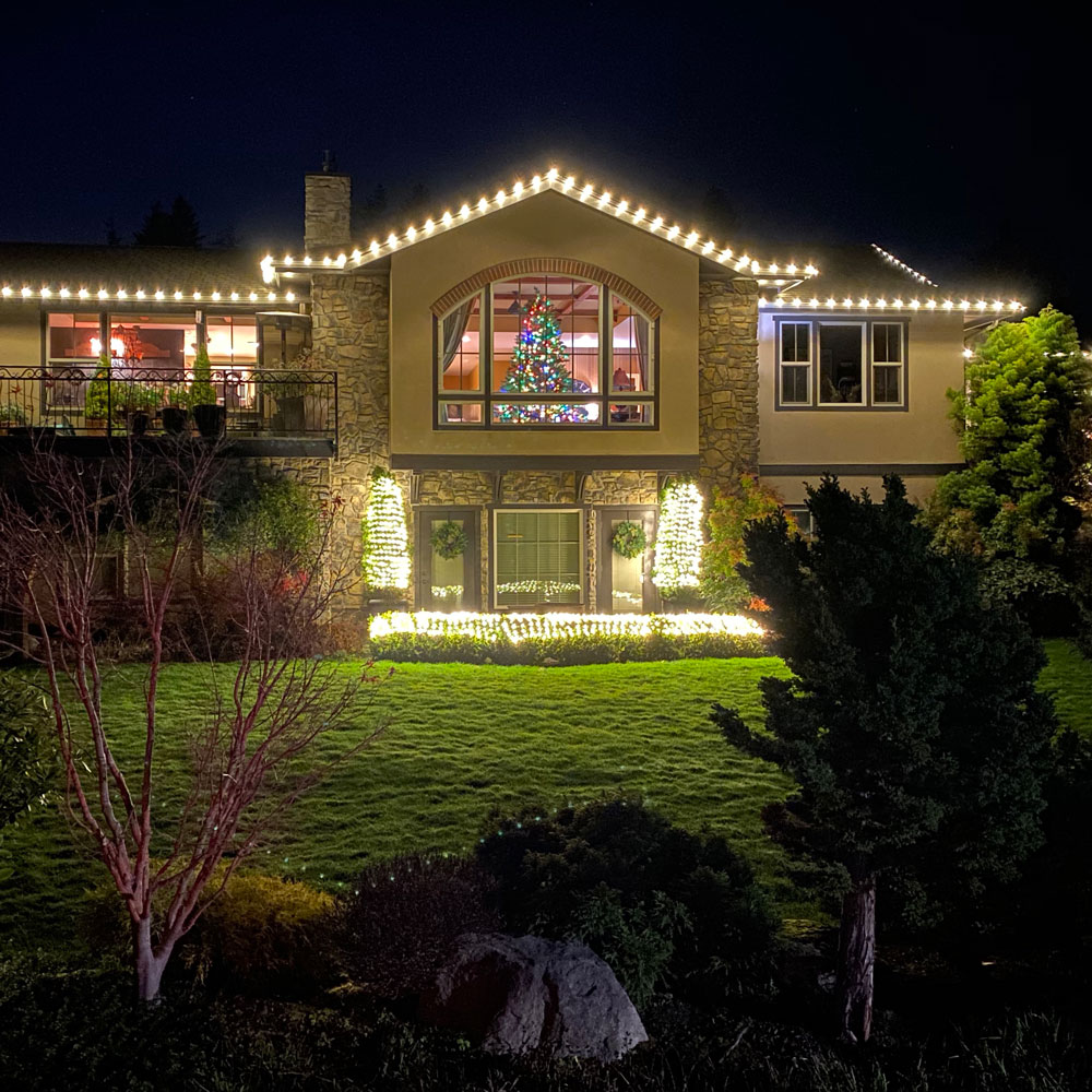 A warm and cozy home lighted by Christmas lights in Bellingham.