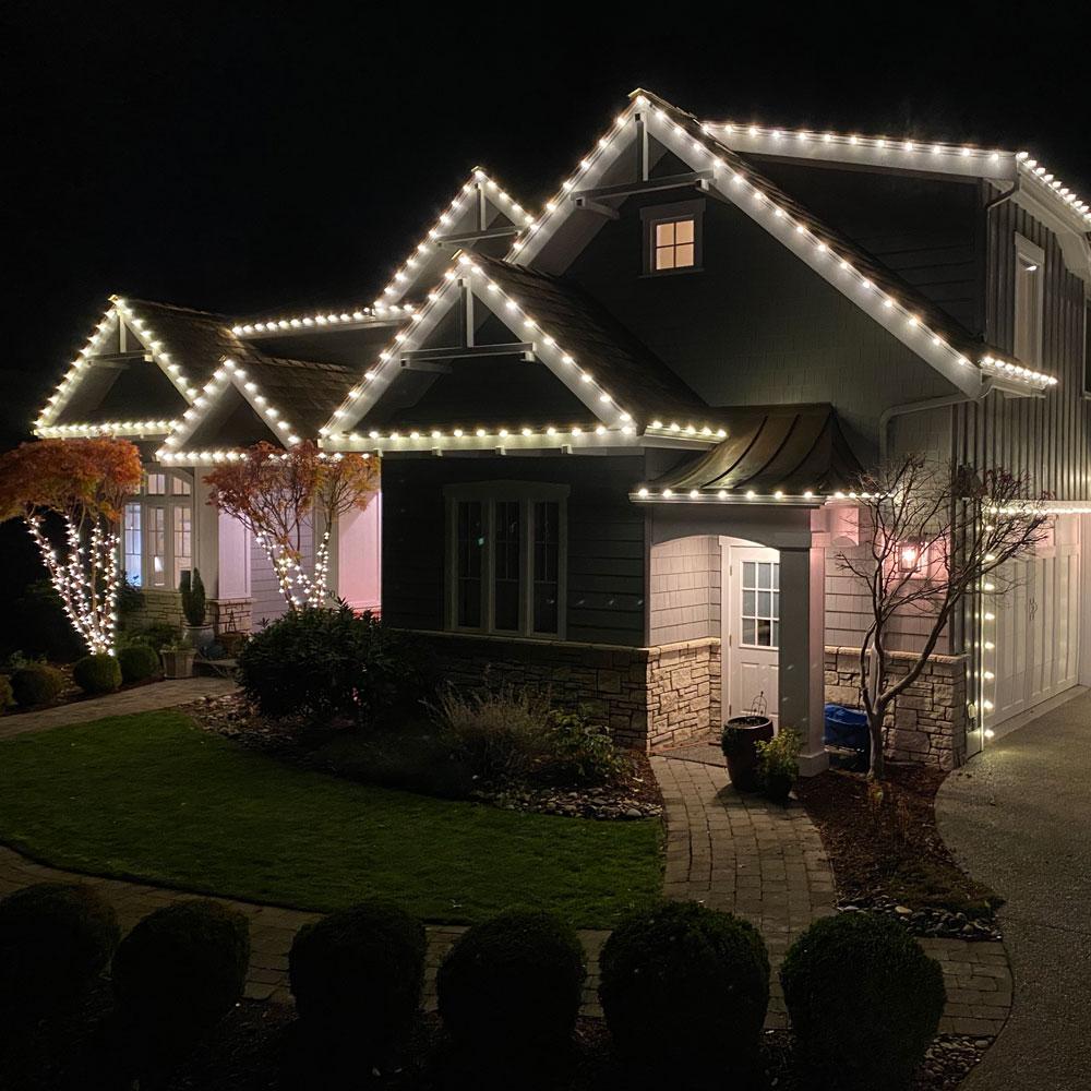 Residential Christmas light set installed in Bellingham.