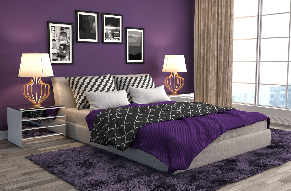 A beautiful shade of purple for a warm bedroom.