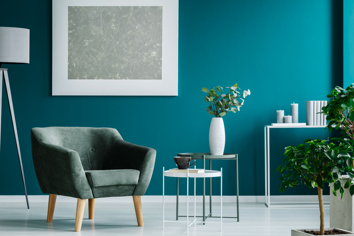 A calming blue in the living room.