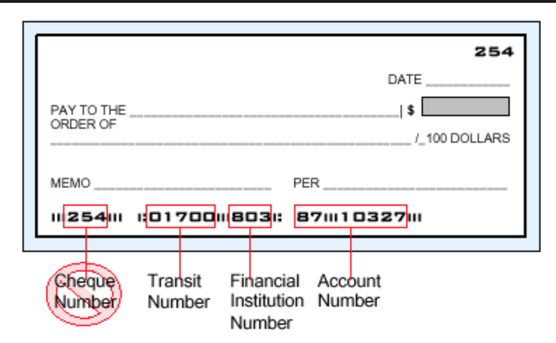 Tangerine sample cheque illustrating where the Tangerine routing and account numbers can be found at the bottom