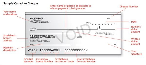 Scotiabank sample cheque illustrating where you can find the Scotiabank routing and account numbers at the bottom