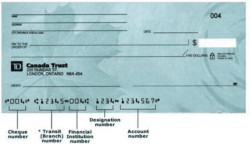 TD Canada Trust sample cheque, highlighting the TD bank routing numbers and account number at the bottom