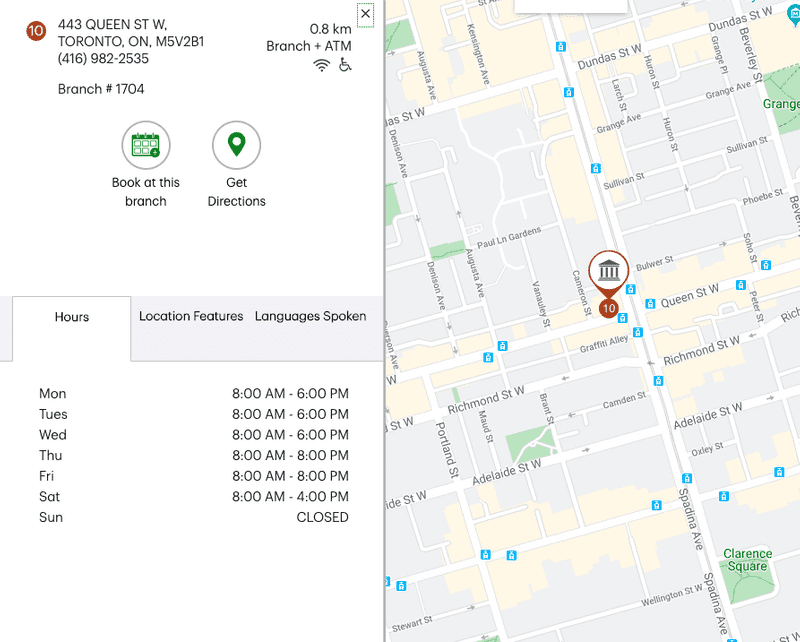 Google map showing bank branch number