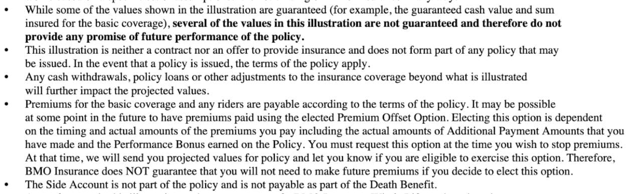 Example portion of a real whole life contract for article on Term Vs Whole Life insurance