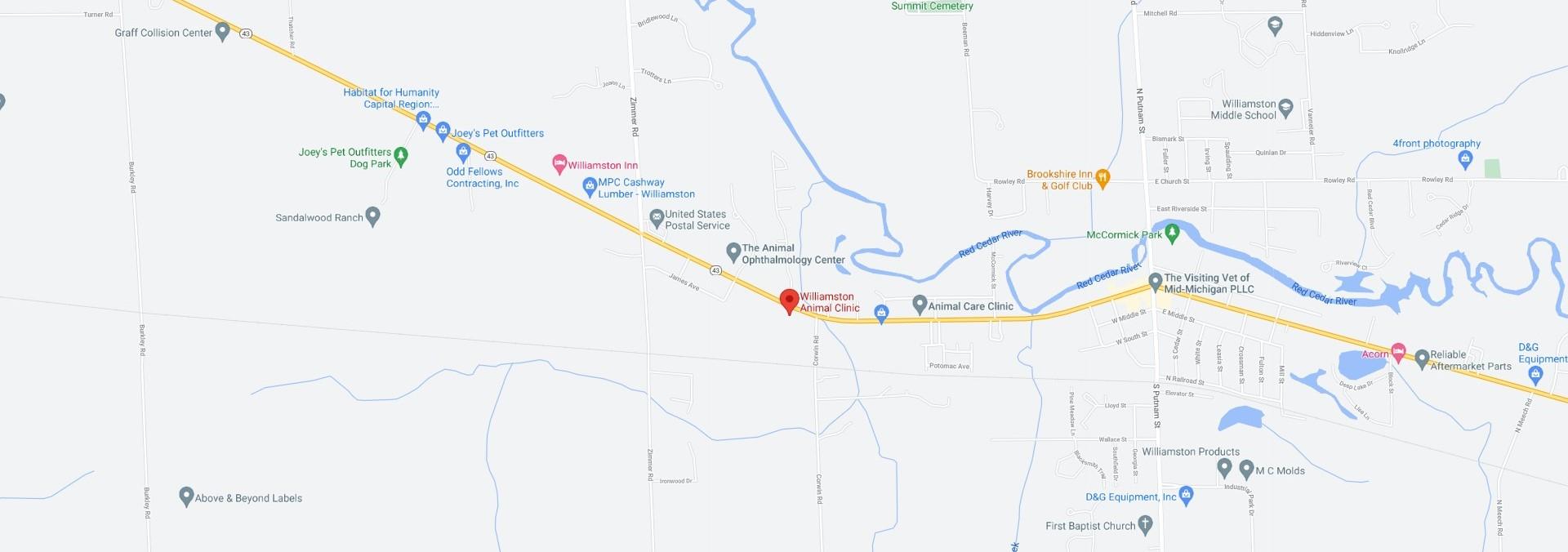 Williamston Animal Clinic Map