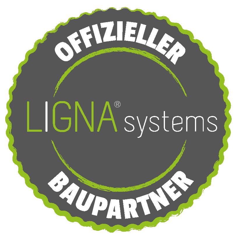 Stempelgrafik mit der Aufschrift: Offizieller Baupartner von LIGNA systems