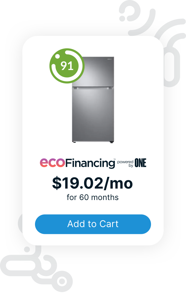 Eco Financing is available for energy-efficient appliances.