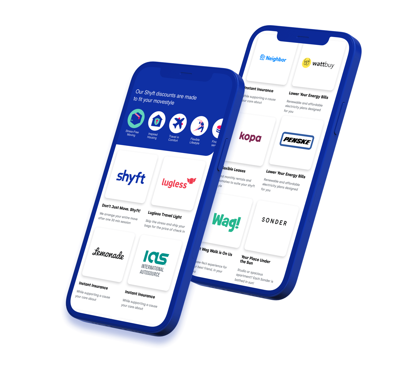Two phones showing Shyft's business partnerships' services and links to their websites