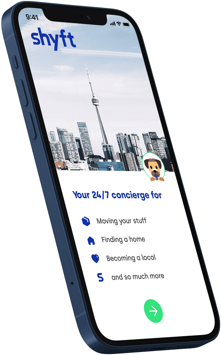 A phone presenting Shyft's moving app with personal concierge services for move management