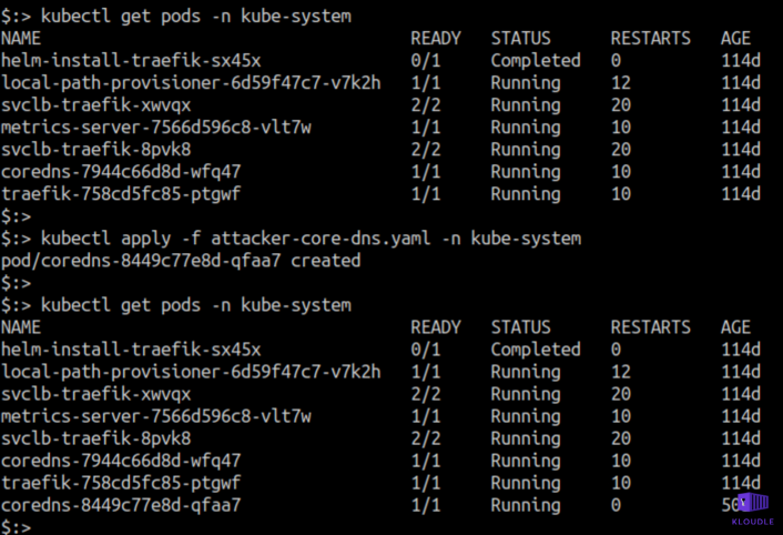 A malicious pod running in the kube-system namespace