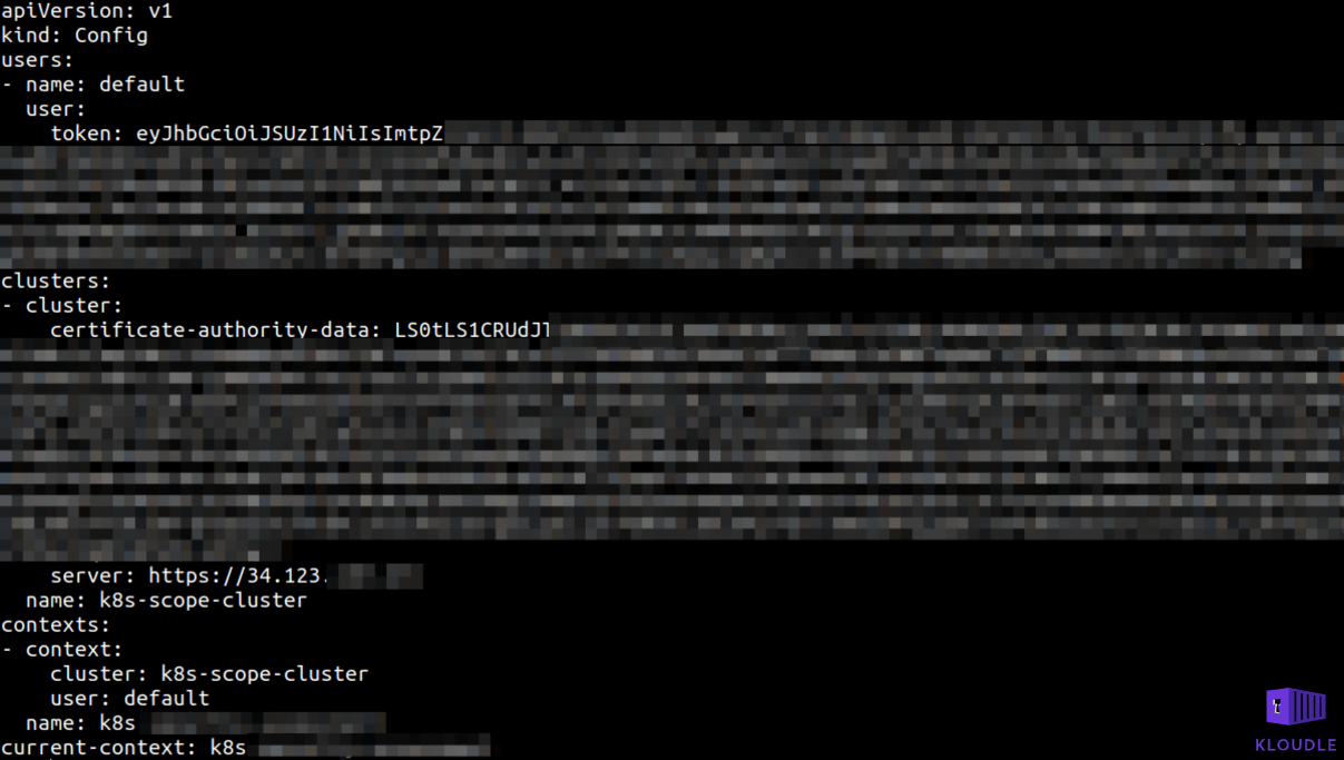 Example of a kubeconfig