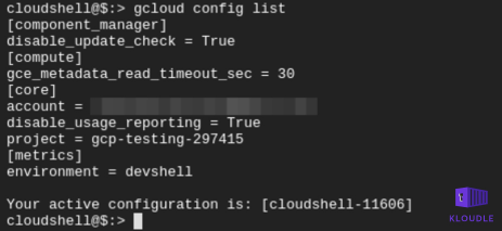 Output of gcloud config list
