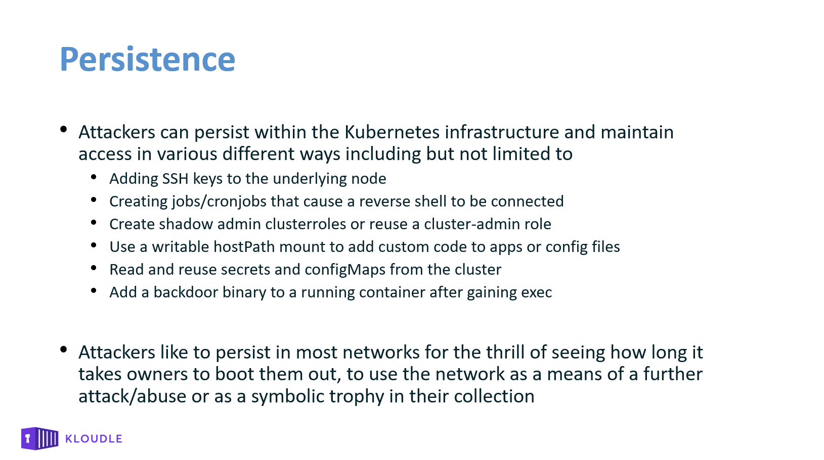 Persistence in Kubernetes